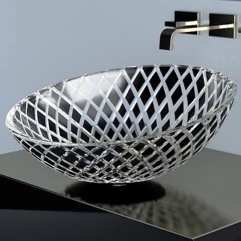 "WS Bath Collections Xeni Glamorous 17-5/16"" Circular Glass Vessel"