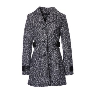 Womens Faux Leather Trim A-line Tweed Coat
