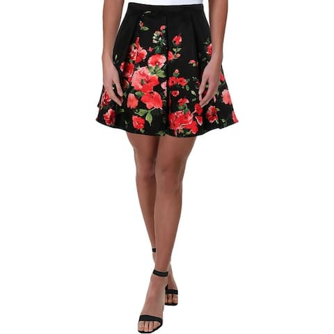 Sequin Hearts Womens Juniors A-Line Skirt Satin Printed - Black/Coral
