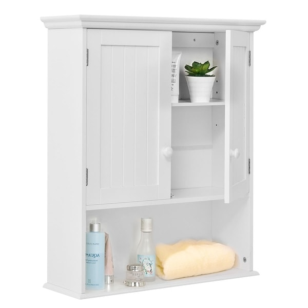 Costway Wall Mount Bathroom Cabinet Storage Organizer Medicine Kitchen Laundry White