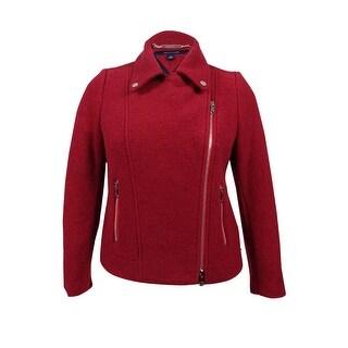 Tommy Hilfiger Women's Payton Moto Jacket (14, Red)