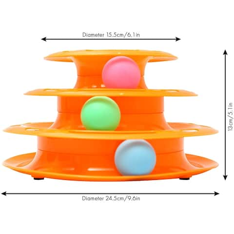 Pet Toy Tower Tracks Three Levels Disc Toy Ball Training Pack of 2