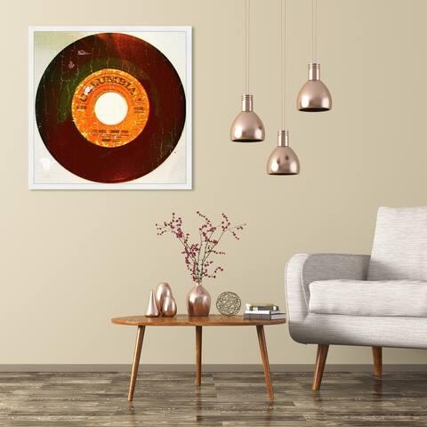 Oliver Gal 'Rebel Vinyl' Music and Dance Framed Wall Art Prints Vinyl Records - Orange, Black