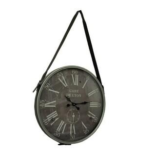 Gare de Lyon Vintage Look Wall Clock With Leather Hanger