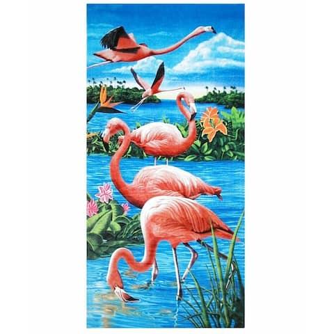 Flamingos & Lake 30x60 Brazilian Velour Beach Towel