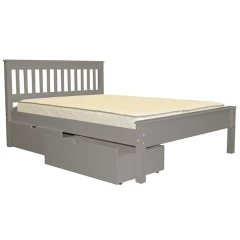 Bedz King Mission Style Full Bed with 2 Under Bed Drawers Grey