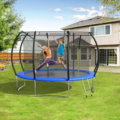 12 FT Pumpkin-Shaped Trampolines With Safety Enclosure