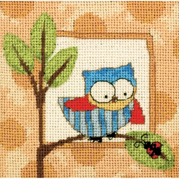 """Curious Owl Mini Needlepoint Kit-5""""X5"""" Stitched In Thread"""