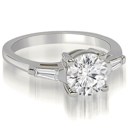 0.65 cttw. 14K White Gold Round Baguette Three Stone Diamond Engagement Ring