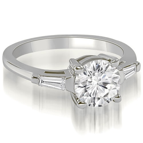0.90 cttw. 14K White Gold Round Baguette Three Stone Diamond Engagement Ring