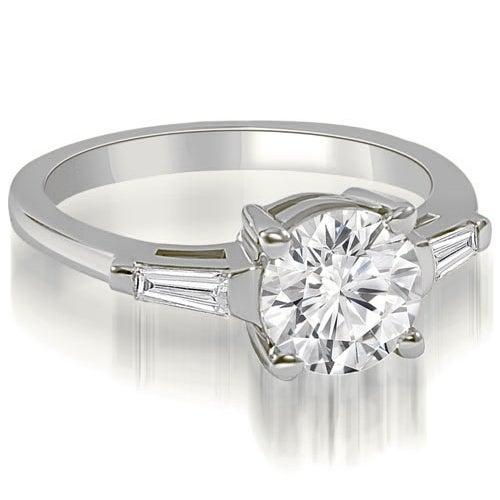 1.15 cttw. 14K White Gold Round Baguette Three Stone Diamond Engagement Ring