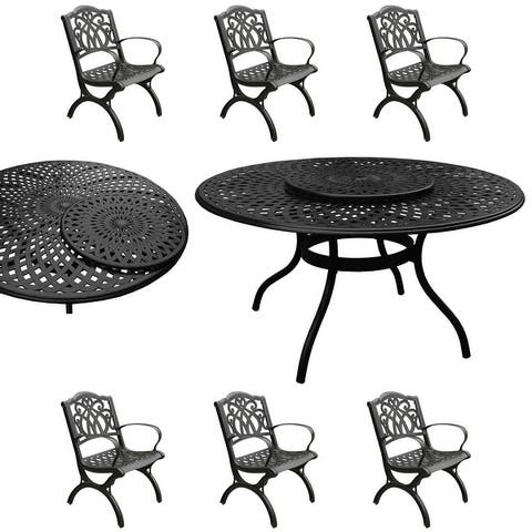 Modern Ornate Outdoor Mesh Aluminum 59-in Large Round Patio Dining Set with Lazy Susan and Six Chairs
