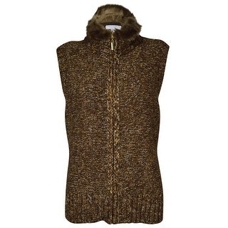 Charter Club Women's Fur Trim Knit Sweater Vest