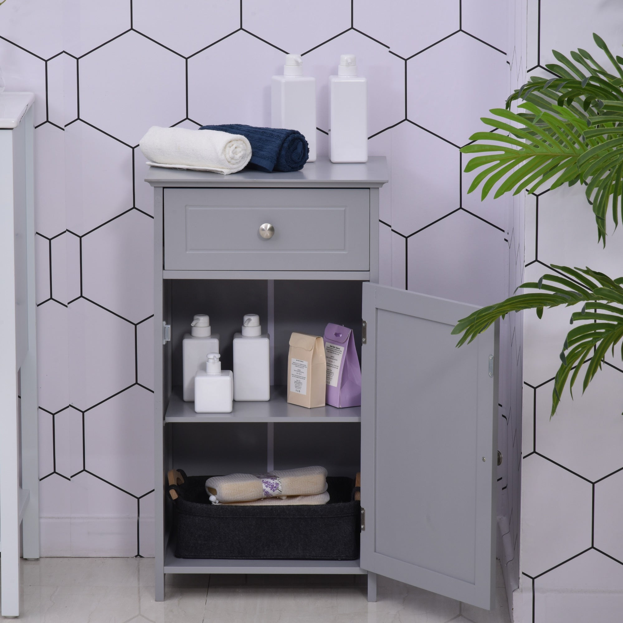 Kleankin Bathroom Cabinet With Drawer And Shelf Toilet Vanity Cabinet For Toilet Paper Towels Or Shampoo Grey Overstock 32464590
