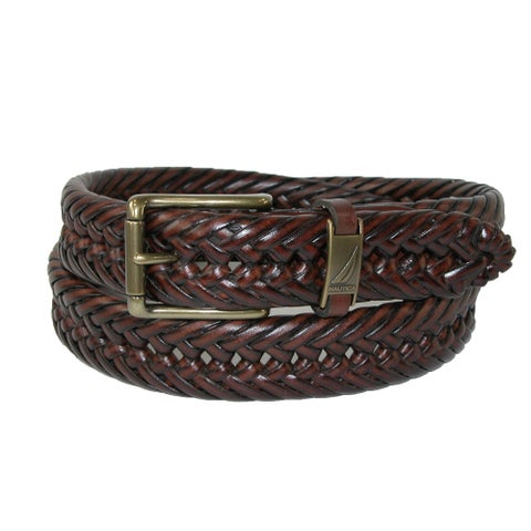 Nautica Men's Leather 1 1/4 Inch Handlaced Basket Weave Braided Belt