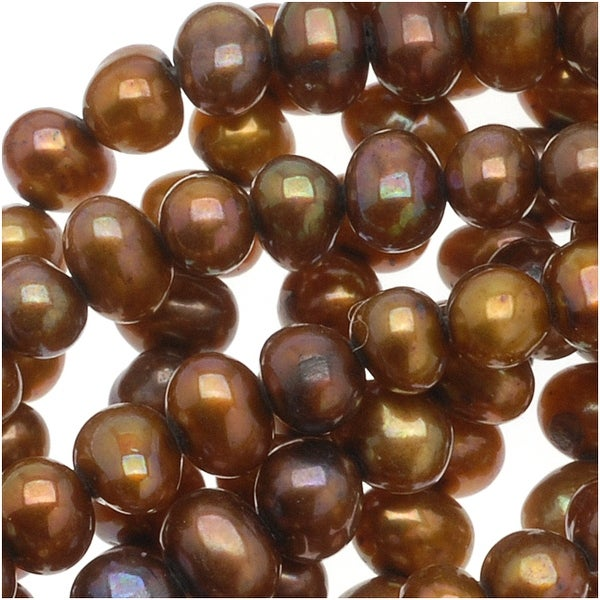 Bronze Gold Round Cultured Potato Pearls 3-5mm (16 Inch Strand)