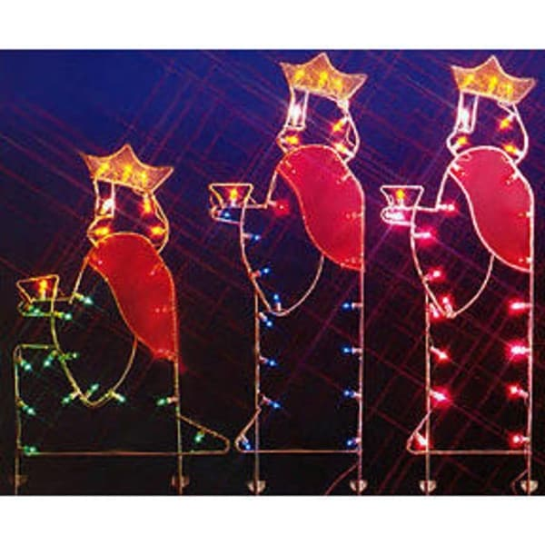 """66"""" Three Wisemen Nativity Silhouette Lighted Wire Frame Christmas Outdoor Decoration - multi"""