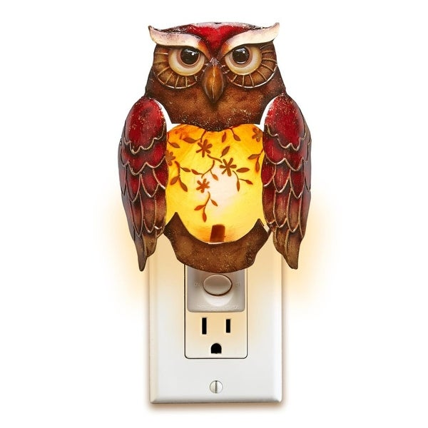 """Pack of 2 Red and Brown Capiz Shell Owl with Floral Accent Night Light 6"""""""