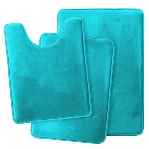 Non-Slip Memory Foam Bath Rug - 3 Pack Set - Small, Large, Contour rug