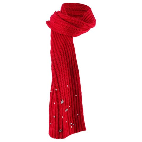 Charter Club Women's Charm-Embellished Scarf (OS, Red) - Red - One Size Fits Most
