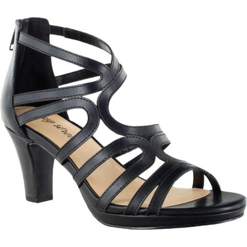 Easy Street Womens Elated Pumps Open Toe Ankle Strap - Black - 9 Extra Wide (E+, WW)
