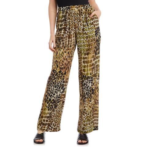 Karen Kane Womens Pants Brown Size XL Wide Leg Safari Giraffe Stretch