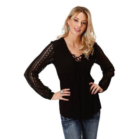 Roper Western Shirt Womens L/S Lace Empire Waist - Black