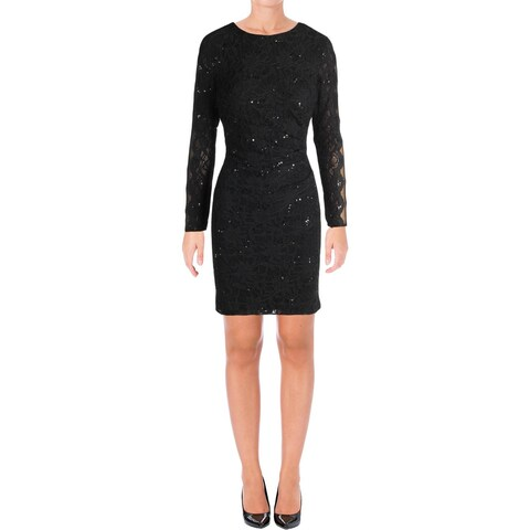 Lauren Ralph Lauren Womens Petites Cocktail Dress Lace Embellished