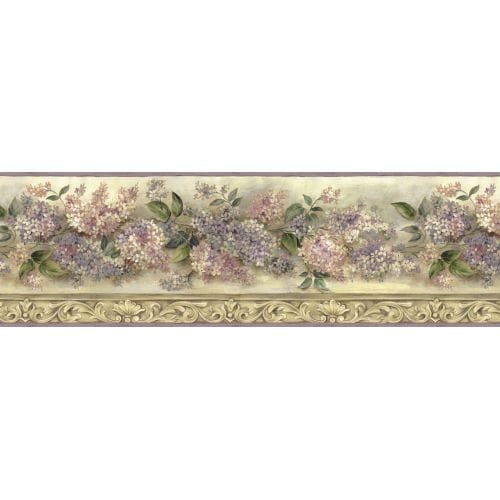 Brewster FFR20041B Purple Heirloom Lilac Border Wallpaper