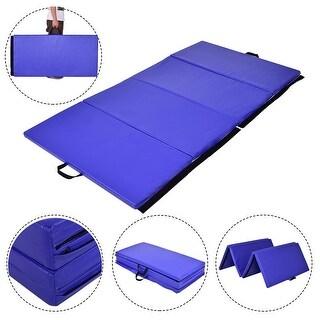 Gymax 4'x8'x2' Gymnastics Mat Thick Folding Panel Exercise Mat Blue