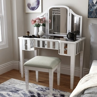 Link to Furniture of America Inno Glam 3-piece Vanity Set with Mirror Similar Items in Bedroom Furniture