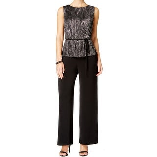 Connected Apparel NEW Black Women's Size 14P Petite Metallic Jumpsuit