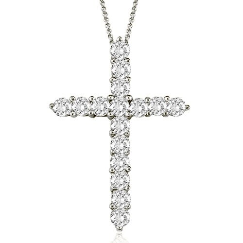 2.00 cttw. 14K White Gold Round Cut Diamond Big Cross Pendant