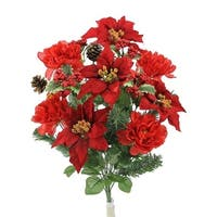 18 Stems Faux Peony Velvet Poinsettia Christmas Bush, Red
