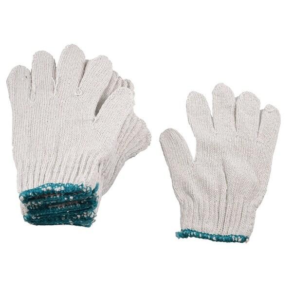 Unique Bargains Unique Bargains Green Cuff Rim Full Finger Cotton Yarn Protecting Work Gloves Beige 6 Pairs