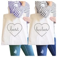Best Babes Natural BFF Matching Canvas Tote Bags Best Friend Gifts