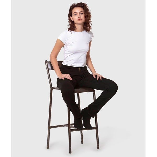 Lola Kate-BLK, High Rise straight jeans