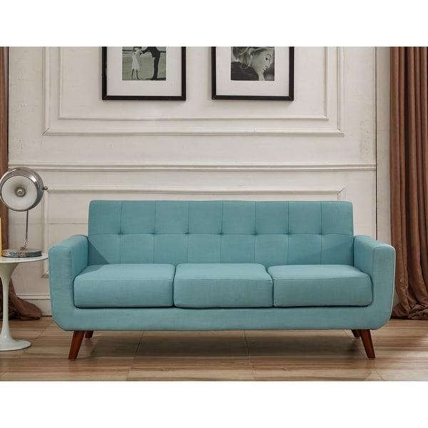 U.S. Pride Furniture Grace Rainbeau Linen Upholstered Tufted Mid-century Sofa. Opens flyout.
