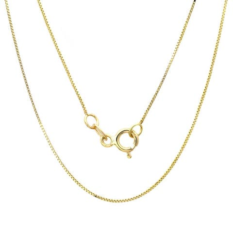14k Yellow Gold .50 mm Box Chain Necklace (14-30 Inch)