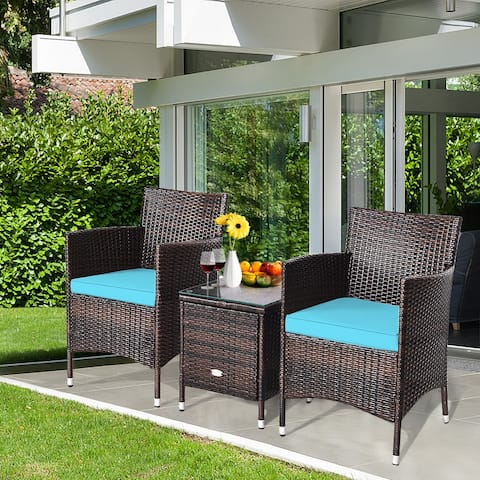Costway Outdoor 3 PCS Rattan Wicker Furniture Sets Chairs Coffee Table