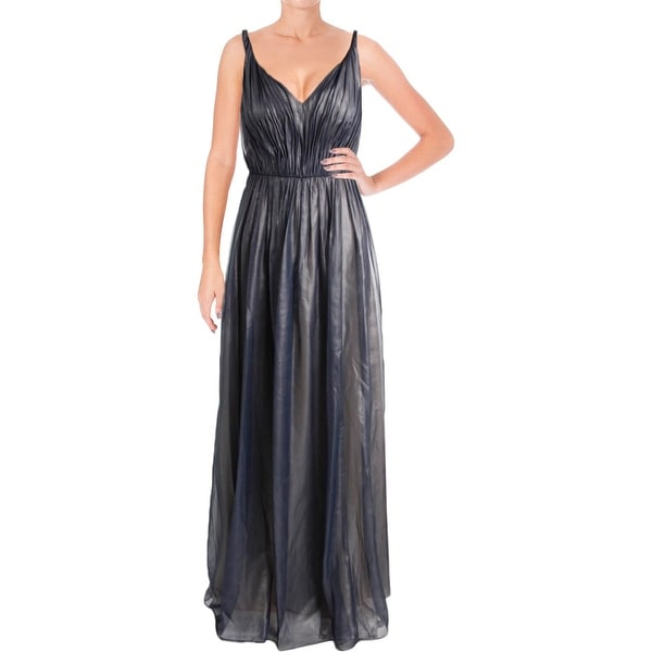 Vera Wang Womens Evening Dress Metallic Chiffon
