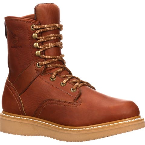 """Georgia Boot: Men's 8"""" Leather Work Boots with Wedge Sole"""