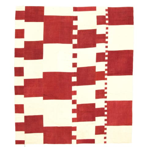 Flat-weave Moldovia Patch Red, Ivory Wool Kilim