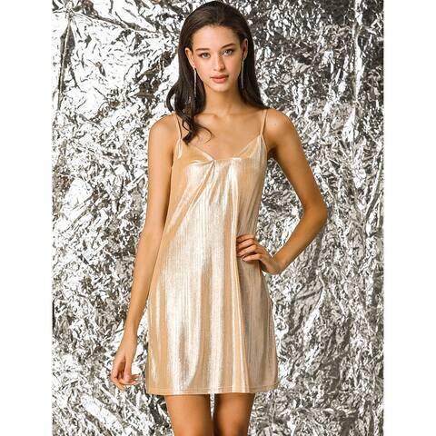 Allegra K Women's Sparkly Metallic Glitter Spaghetti Strap Party Mini Dress