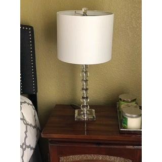 Safavieh Lighting 24-inch Victoria White Shade Crystal Ball Table Lamp (Set of 2)