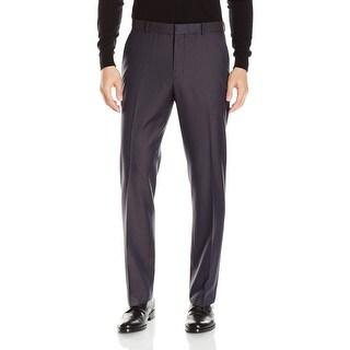 Perry Ellis NEW Blue Mens Size 36x32 Check Print Flat Front Dress Pants