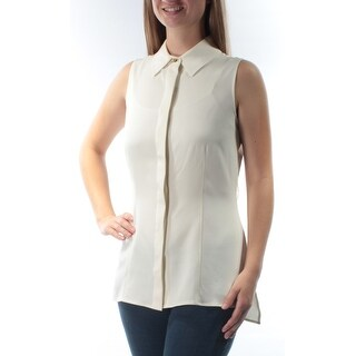 ST JOHN $495 Womens New 5098 Ivory Collared Sleeveless Button Up Top S B+B