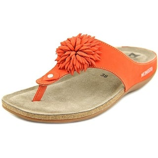 Mephisto Abigael Women Open Toe Leather Orange Thong Sandal
