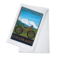 Fort Collins, CO - Mountain Bike - LP Artwork (100% Cotton Towel Absorbent)
