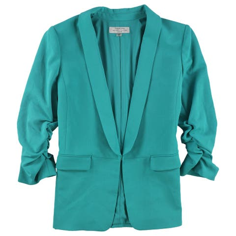 Tahari Womens Ruched Sleeve Blazer Jacket, Green, 16P